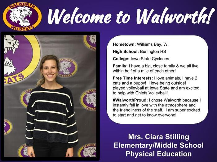 Welcome to Walworth Mrs. Stilling