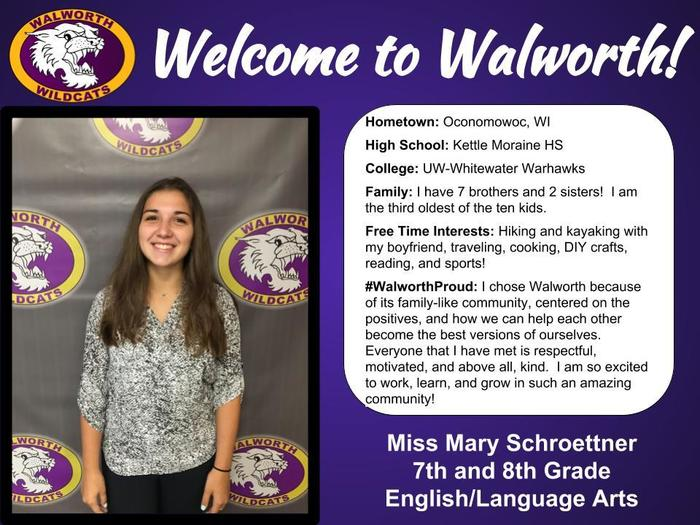 Welcome to Walworth Miss Schroettner