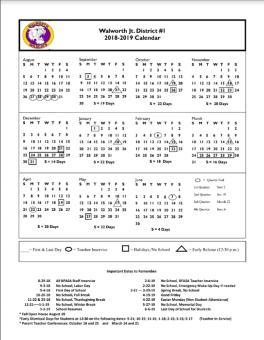 2018-2019 Walworth Jt. District #1 Calendar