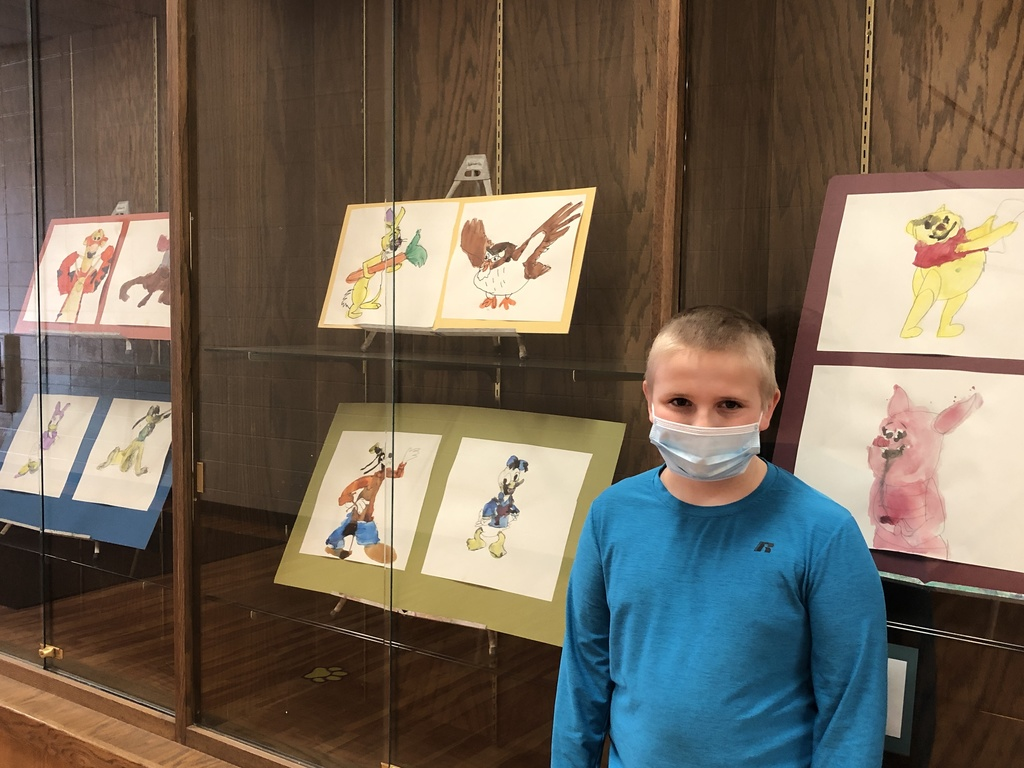 Elijah is a featured artist this week!  His watercolor art gallery is on display for the entire school!  Great work, Elijah!