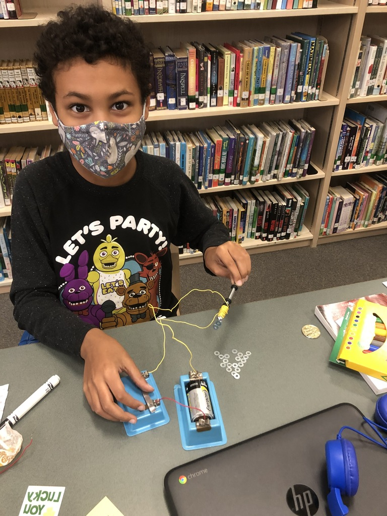 5th graders are having fun learning about electromagnetic force and circuitry this week in science!
