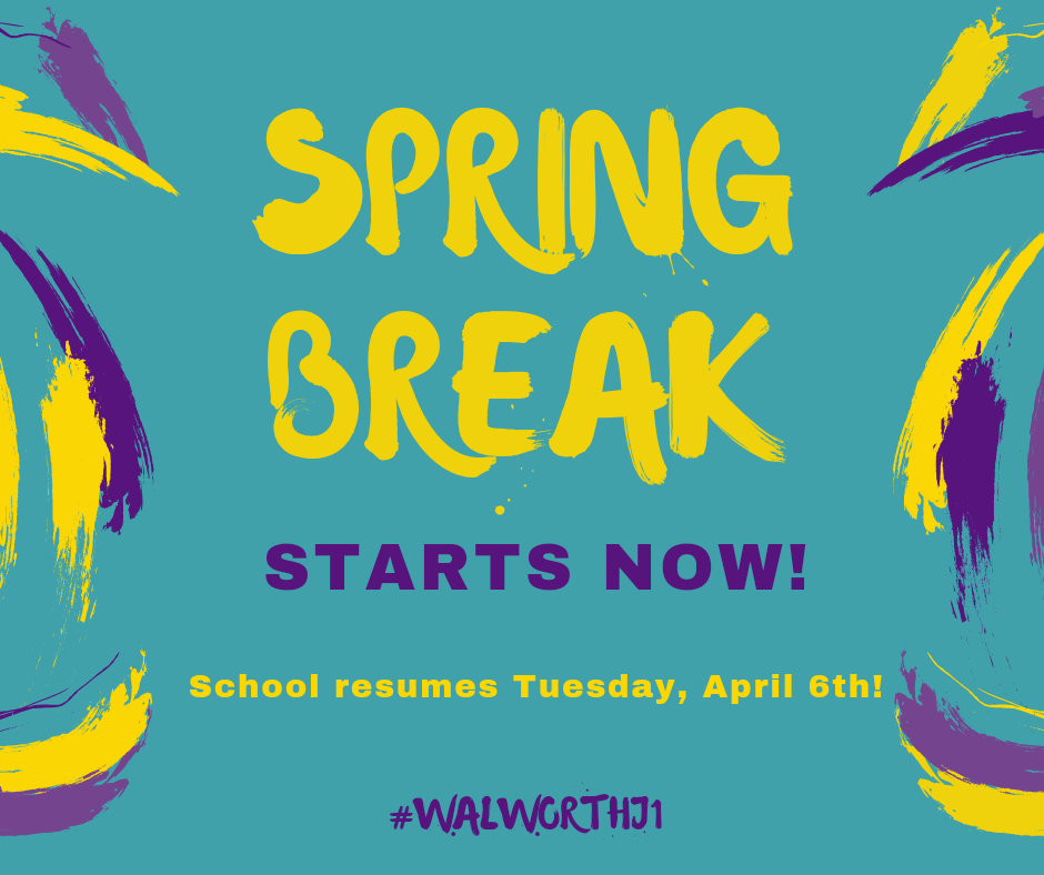 Enjoy your spring break Wildcats! School resumes Tuesday, April 6th. 🌞 #WalworthJ1