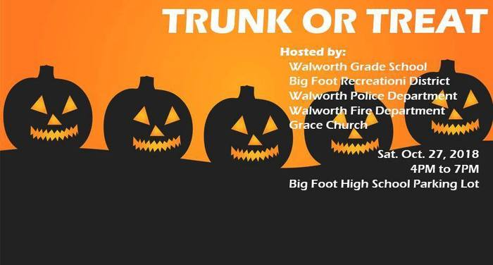 Wildcats, are your Halloween costumes ready? Trunk or Treat is this Saturday, October 27th from 4:00-7:00 P.M. in the Big Foot High School Parking lot! #WalworthJ1