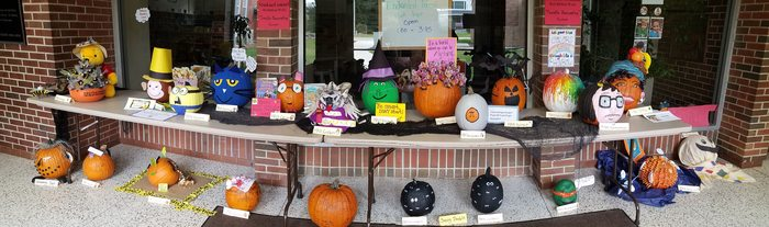 For Red Ribbon Week each classroom decorated a pumpkin, reinforcing with students the importance of participating in healthy activities.