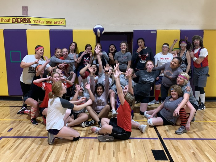 Tonight the 8th grade volleyball team ended their great season with a fun game against their parents. The parents definitely brought their A-game! #WalworthJ1