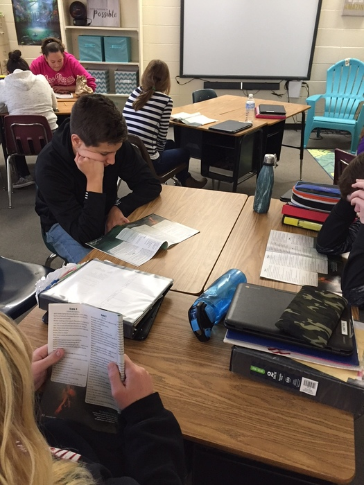 "Seventh graders enjoyed a Reader's Theater with Mrs. Lambert and Ms. Schwaegerl. They read an adaptation of ""20,000 Leagues Under the Sea."" They also read and discussed a nonfiction article on ocean exploration. Some students really got into their roles! #WalworthJ1"