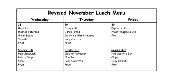 Revised Lunch Menu