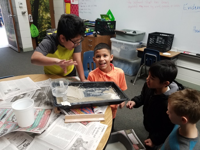 This week in science the fourth graders are using stream tables to learn about how erosion moves rocks from one place to another to create different landforms. #WeLoveScience #WalworthJ1