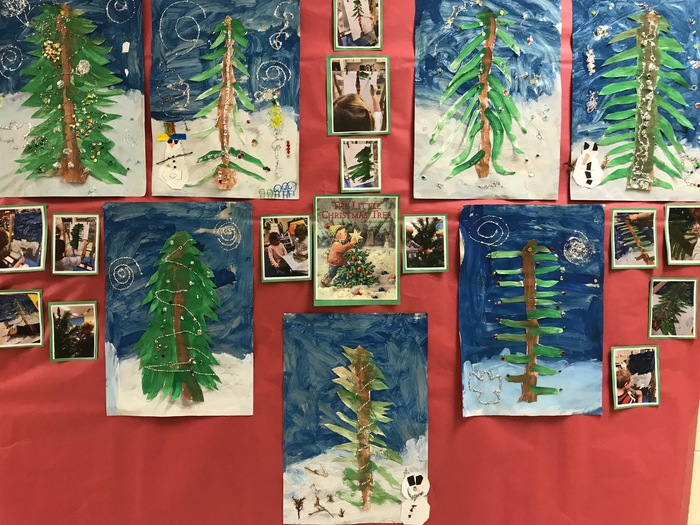 The children in Ms. Boldger's junior kindergarten class little Christmas tree!