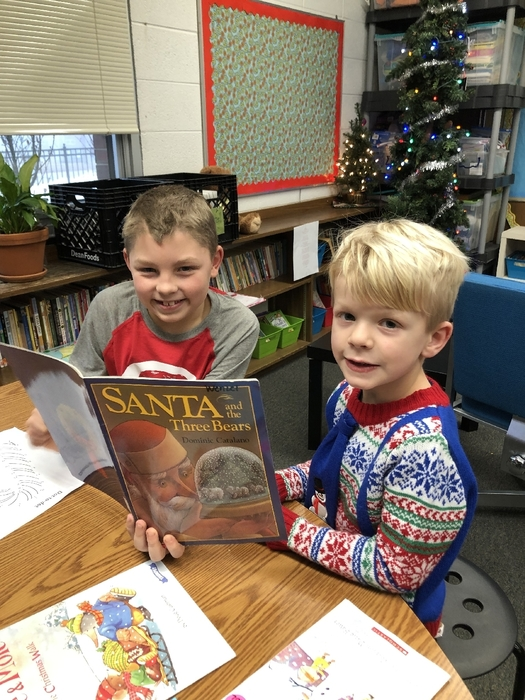 Reading buddies in Ms. Koltes' and Mrs. Trosclair's classes enjoyed some holiday books! 🎅🎄📚🎄🎅#WeLoveReading #WalworthJ1