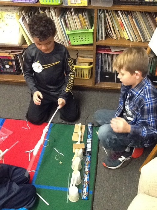 Mrs. Cullen's class participated in a Bridge Challenge.  Students had to make a bridge that was 45 cm long and sturdy. #WalworthSTEM #WalworthJ1
