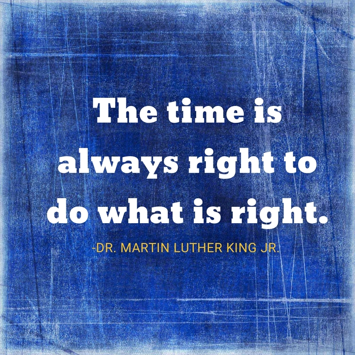 The time is always right to do what is right. ~Dr. Martin Luther King Jr.