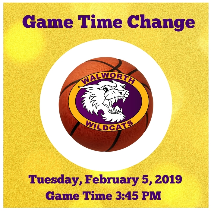 Due to incoming weather on Tuesday, February 5, 2019 the home girls' basketball game will start early at 3:45 P.M. #WalworthJ1