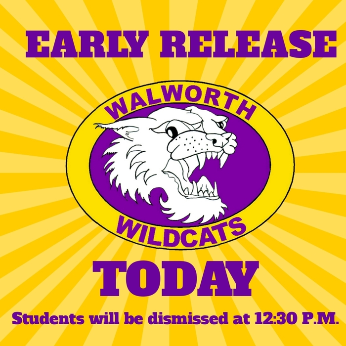 Today, February 15th is an early release day. Students will be dismissed at 12:30 P.M. #WalworthJ1