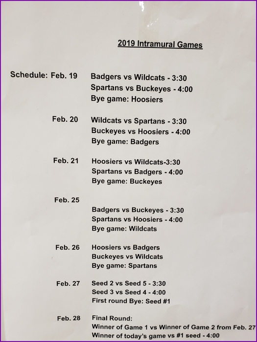 intramural basketball schedule