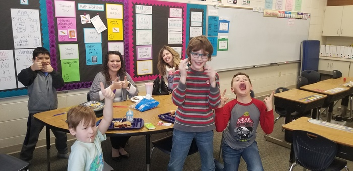 Mrs. Dowden and Mrs. Troslcair got to enjoy lunch with one of the Winterfest winners and his friends!