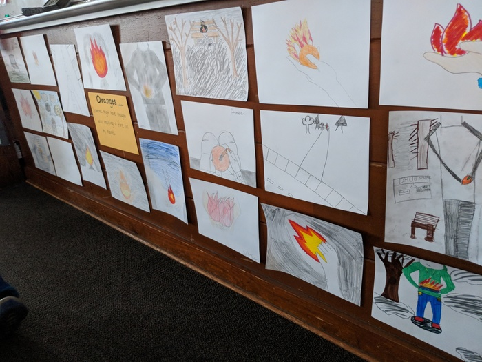"The 6th graders read ""Oranges"" by Gary Soto. Each student drew their own interpretation of the final two lines of the poem."
