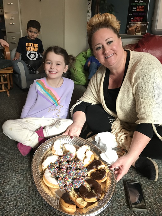 "Grace won a special teacher experience with Mrs. Ott-Wilson during Winterfest raffle that included a ""Donuts & Dance Party"" for all of her classmates in the guidance room. #WalworthJ1"