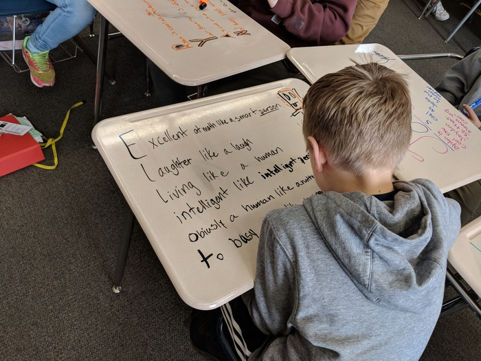 Mrs. Hajewski's sixth graders practiced writing with similes, metaphors, and imagery in acrostic poems. Each student used their desk as a canvas. (Don't worry; dry erase marks can be wiped off of the desks!) #WalworthJ1
