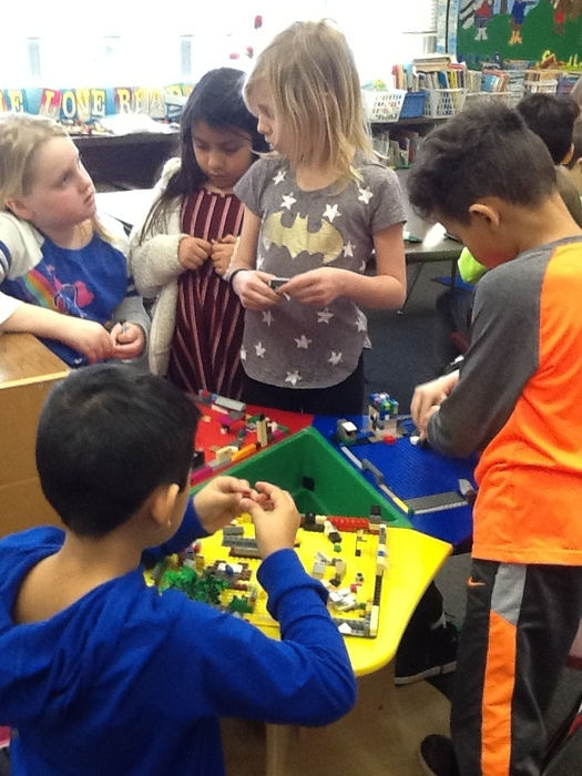Mrs. Cullen's class is problem-solving using Legos!