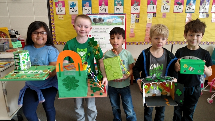 Miss Koltes' kindergarten students put their STEM skills to good use at home with their family in order to build a leprechaun trap. The boys and girls came up with some very creative traps, but unfortunately we did not catch a leprechaun. 😉 🍀🌈