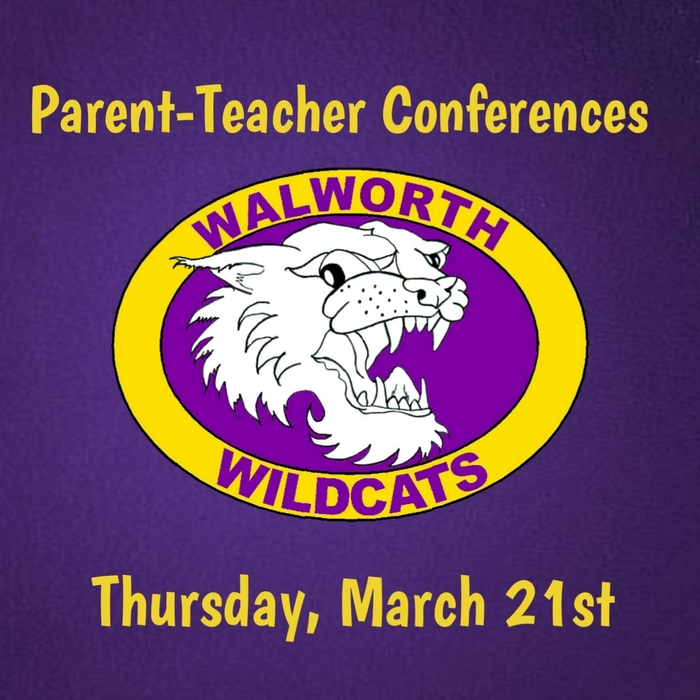 Parent-Teacher conferences are Thursday, March 21st from 4:00-8:00 p.m.   Grades 5th-8th are drop-in conferences. Please allow plenty of time to meet with your child's teachers.   Grades JK-4th are scheduled conferences. Please contact your child's teacher for your scheduled time.  #WalworthJ1