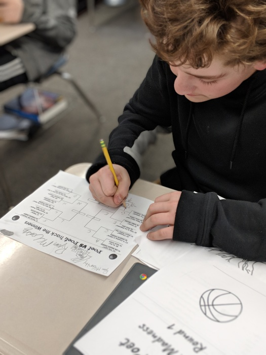 Mrs. Hajewski's 6th graders participated in a Poet v. Poet March Madness Tournament.