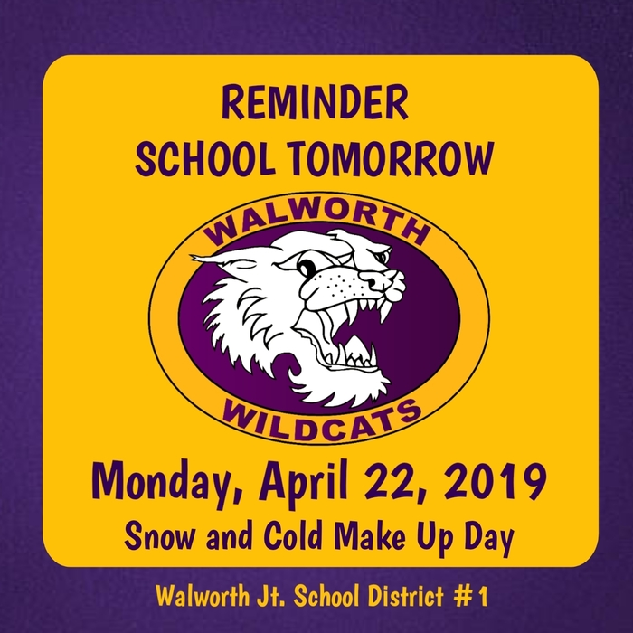 School Monday, April 22n 2019