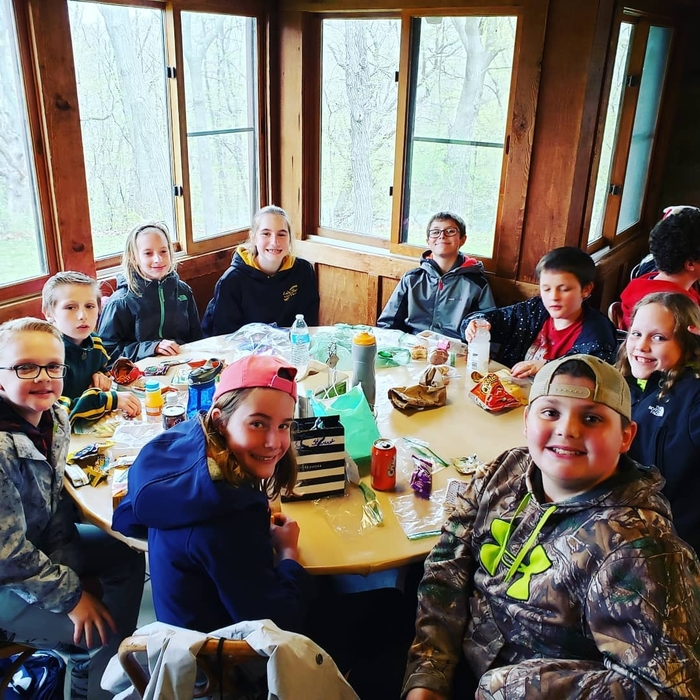 Lunch break at Outdoor Ed! 🌲🌳🥪🍕🌳🌲 #WalworthOutdoorEducation #WalworthJ1