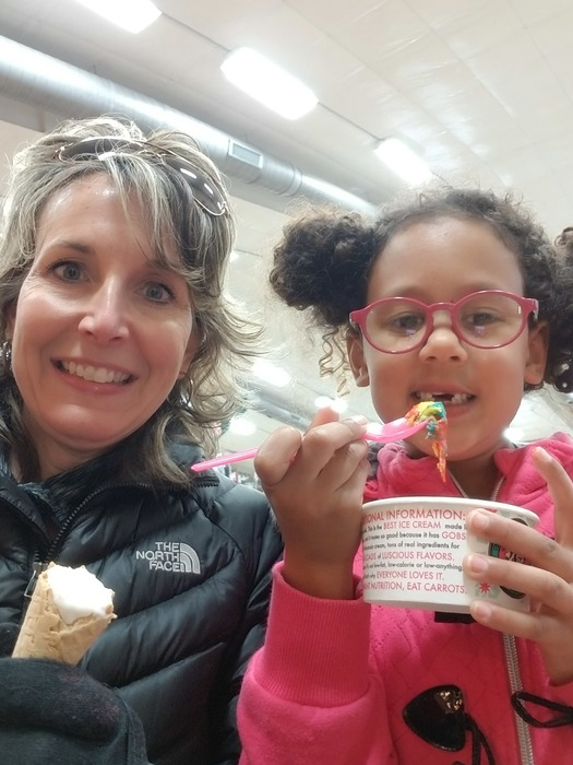 "Mrs. Niemuth was excited to meet a new friend! Teelyn won the raffle at the Art Fair for a ""walk and talk ice cream treat!"""