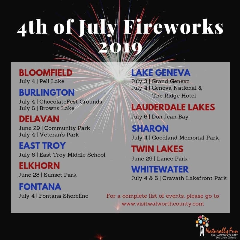 4th of July Fireworks Schedule