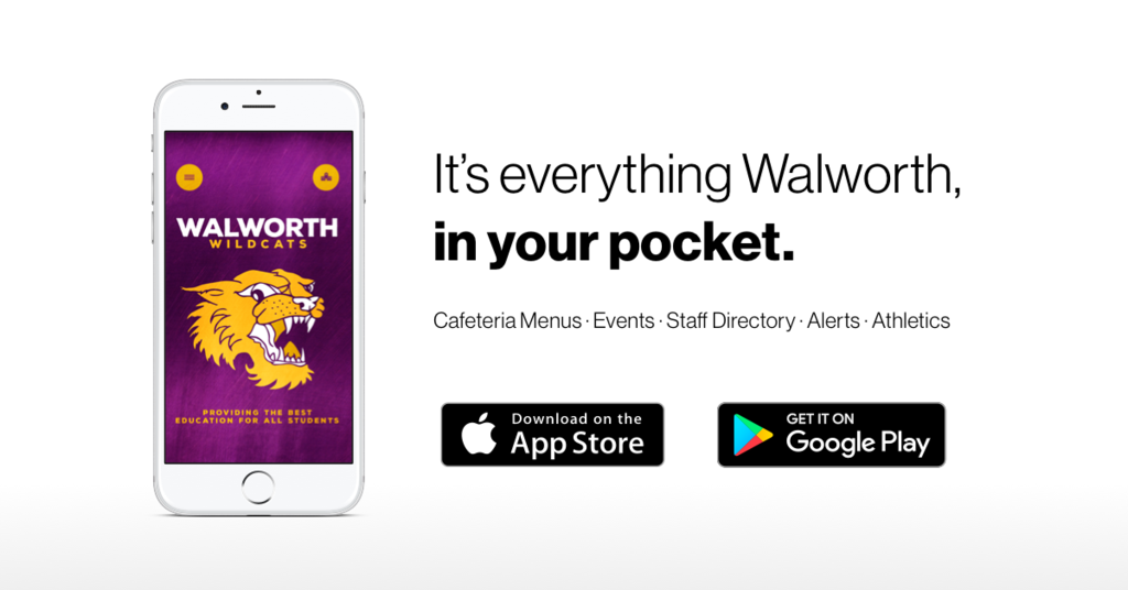 We're thrilled to announce Walworth Jt. School District #1's new app! Access sports scores, cafeteria menus, news updates, even emergency notifications! Download the app on Android: http://bit.ly/2OG4O02 or iPhone: https://apple.co/2OTyzea.