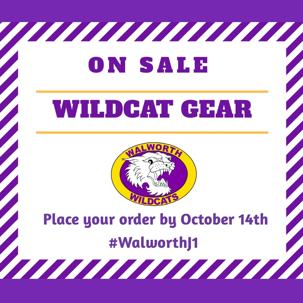 Only a few more days to place your Walworth Wildcats Apparel order.   #WeLoveWalworth #WalworthJ1