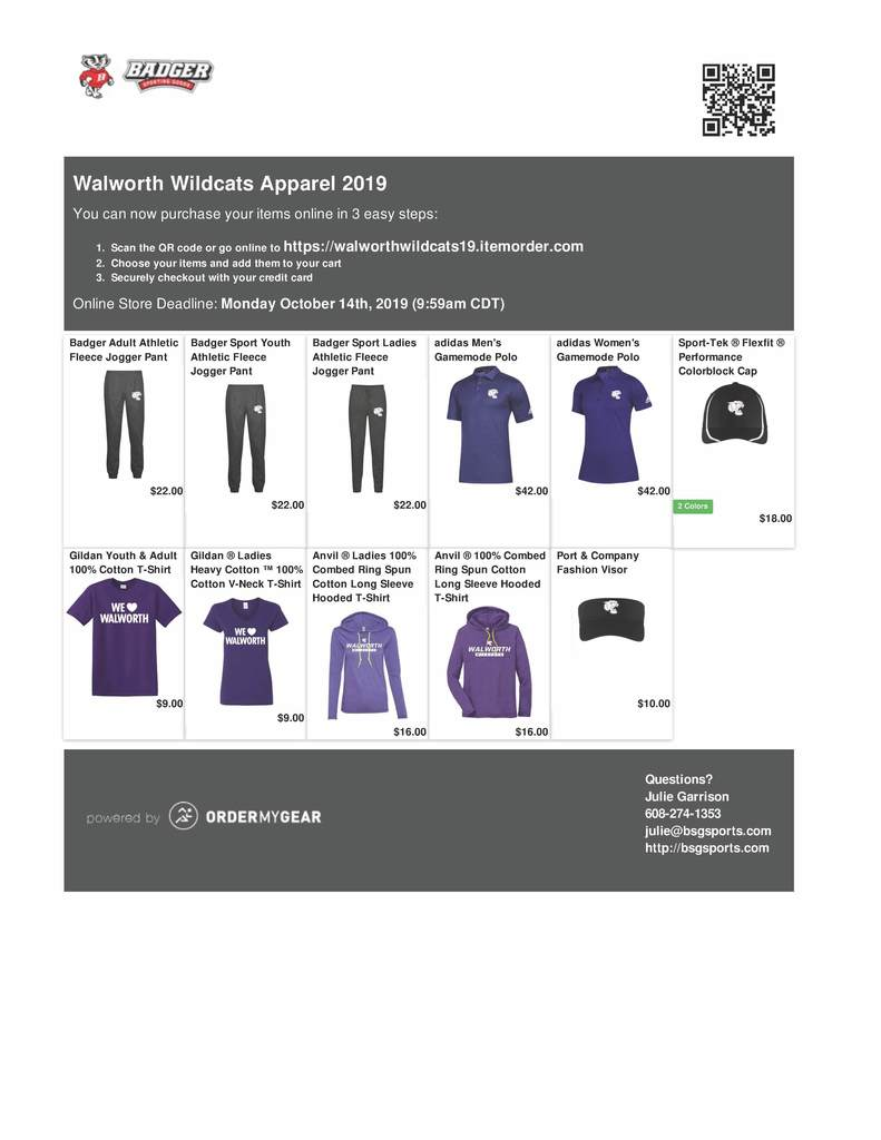 Only a few more days to place your Walworth Wildcats Apparel order.
